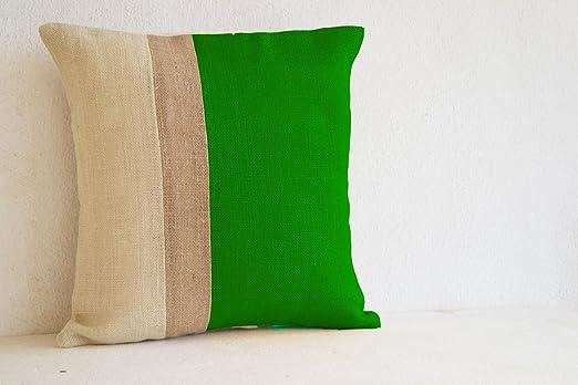 Verde de Cojín en color de yute - Funda de Cojín en verde ...