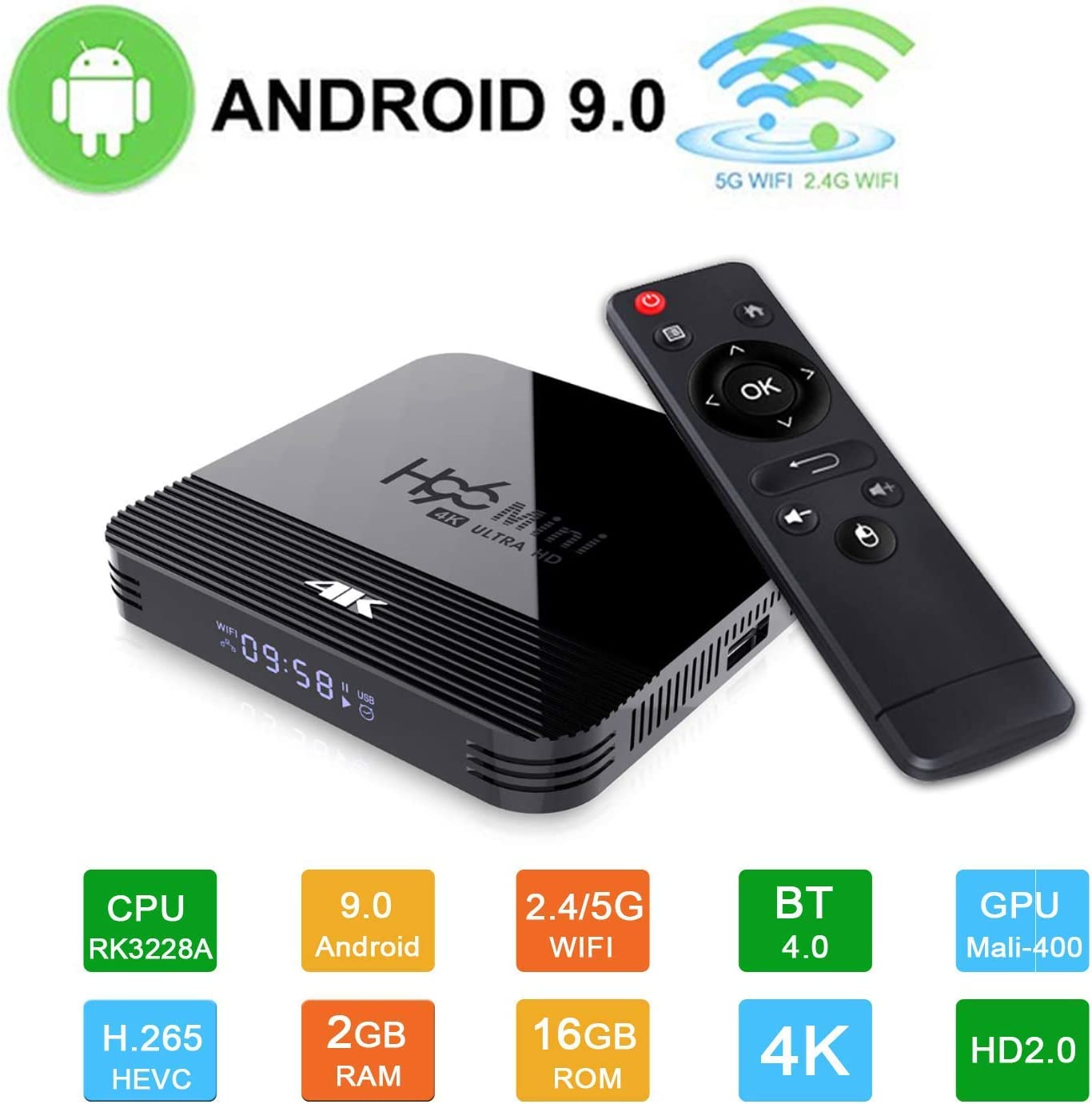Android 9.0 TV Box H96 MAX Smart Media Box 4K【4GB + 64GB】 Quad Core H.265 Ultra HD 2.4G/5GHz WiFi Supports HDMI / 3D 100M Ethernet Family USB 3.0 Video Play Box: Amazon.es: