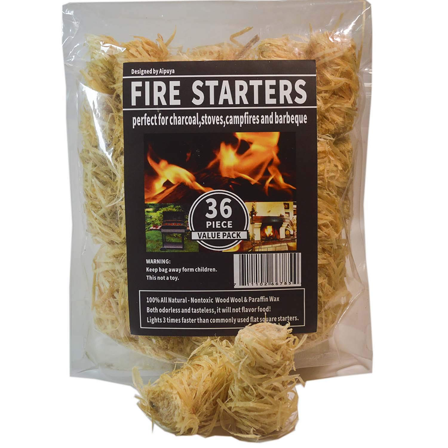 100% All Natural Charcoal Fire Starters Waterproof,Super Fast Lighting,Perfect for Barbecue Grills, Kamado, Smokers, Wood Stove and Campfire (36pieces) by Aipuya