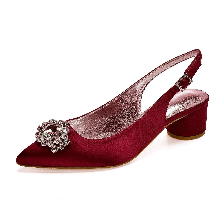 Zxstz Chaussures de Femmes en Satin Mariage de Mariage Satin de Printemps été Talon Haut Chaussures à Bout Pointu Chaussures de Parti Strass Fleur 40|Wine red 2afb9d