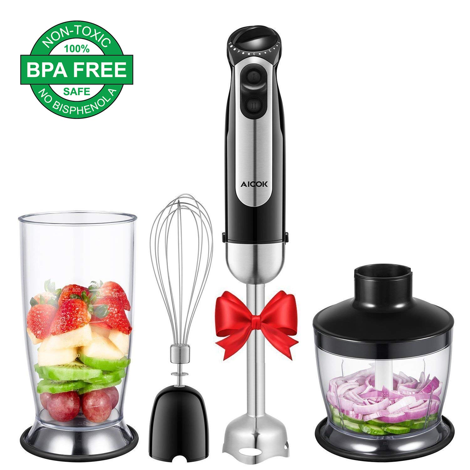 Hand Blender, 4 in 1 Immersion Blender Includes 800ml Beaker, 500ml Chopper, Egg Whisk, 10 Speeds(5x2) Multifunctional Blender for Smoothies, Soups, 304 Stainless Steel Shaft and Blades, BPA Free by AICOK