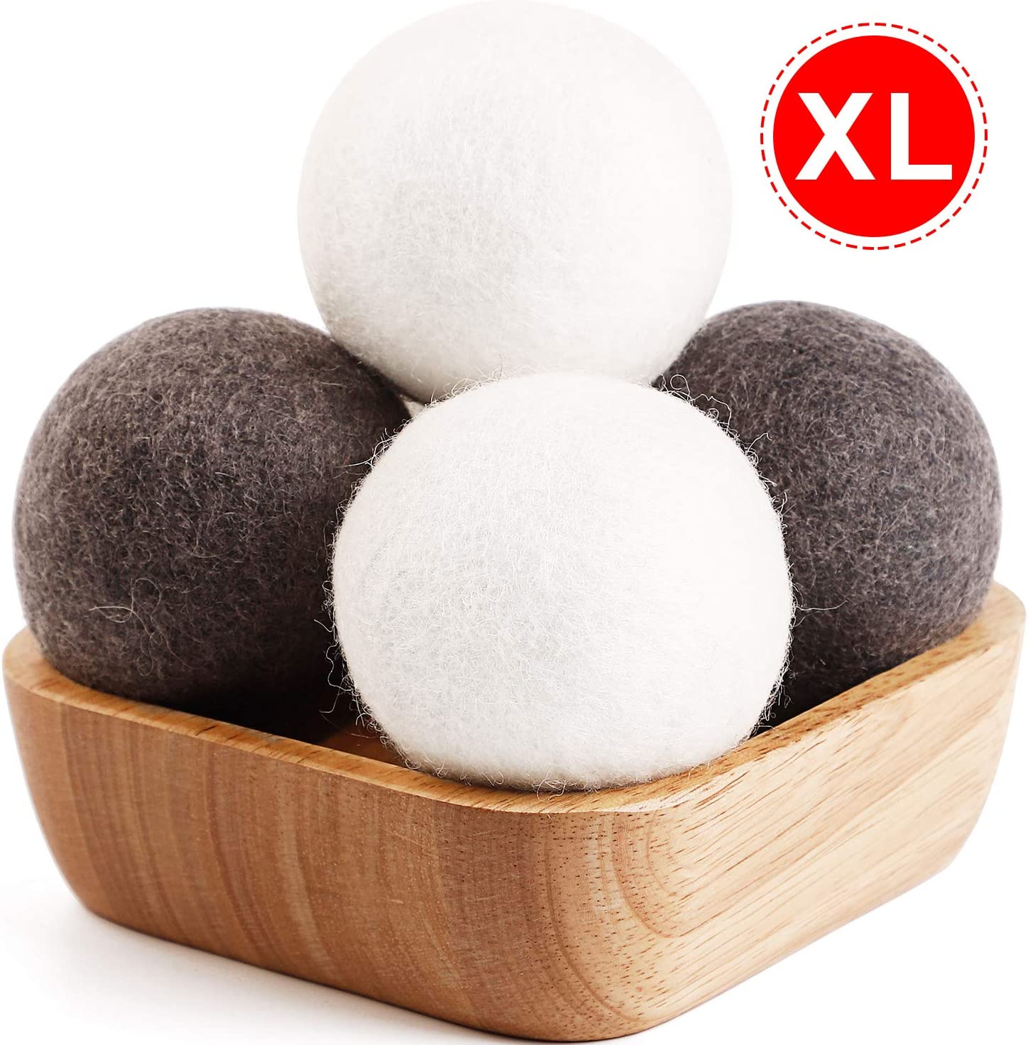 Organic Dryer Balls, 4 Pack XL Laundry Wool Dryer Balls - 100% New Zealand Wool - Handmade 4 Wool Balls, Reduce Wrinkles&Save Drying Time - Alternative to Dryer Sheets Liquid Softener Plastic Balls