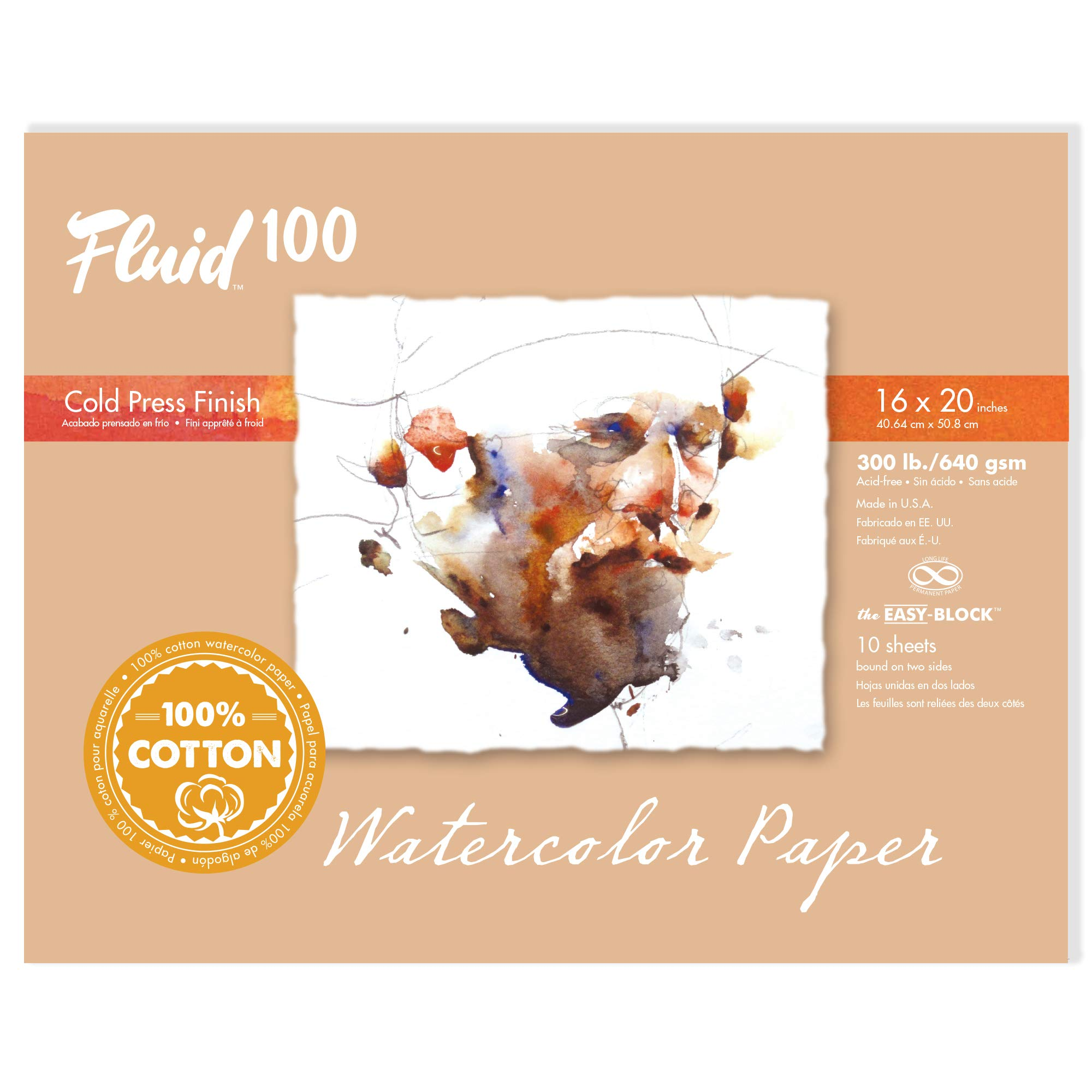 Speedball Art Products 821234 Fluid 100 Artist Watercolor Paper 300 lb Cold Press, 16 x 20 Block, 100% Cotton Natural White by Speedball
