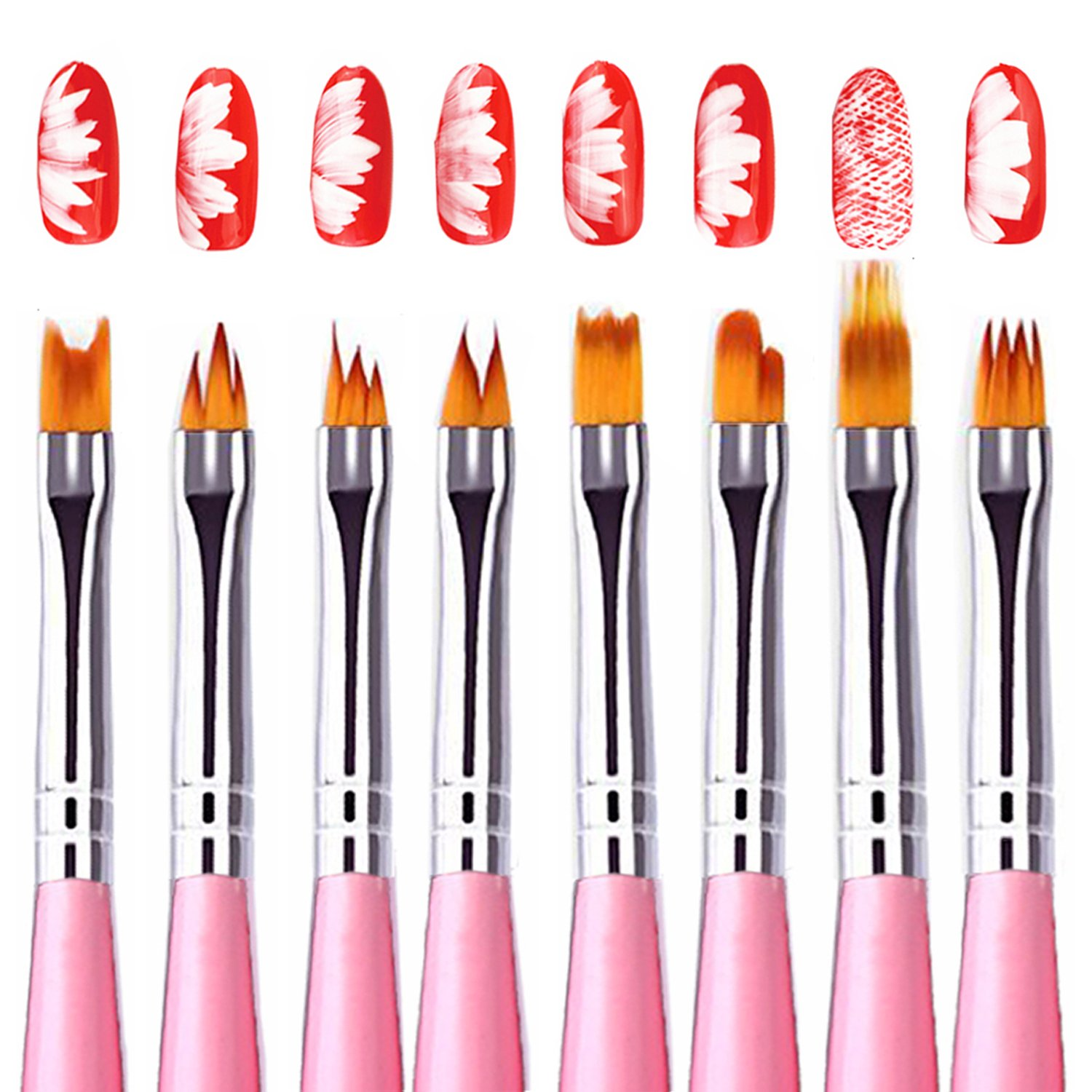 Amazon.com : Kingtree 8 PCS Nail Art Brush Set, Gradient Acrylic ...