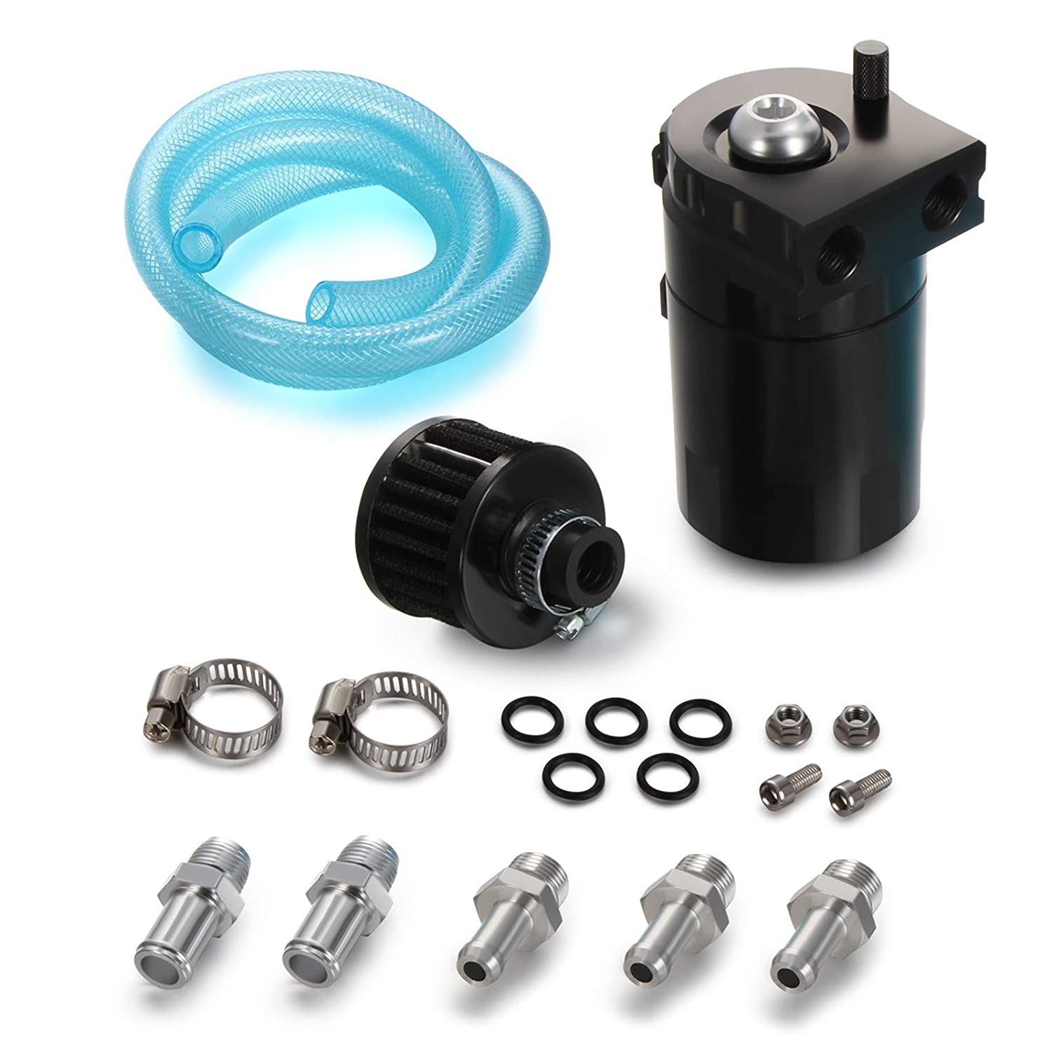 Twilight Garage Polish Baffled Universal Aluminum Oil Catch Breather Can Reservoir Tank 300ML With Breather Filter - Black