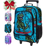Kids Luggage, Dinosaur Rolling Suitcase with Wheels for Boys