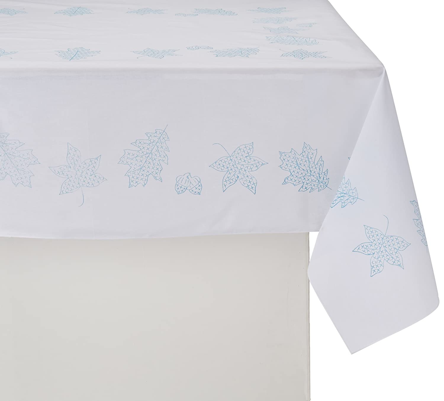 Jack Dempsey Stamped White Table Cloth Cross Stitch Kit, 50 by 70-Inch, Fall Leaves 551 492