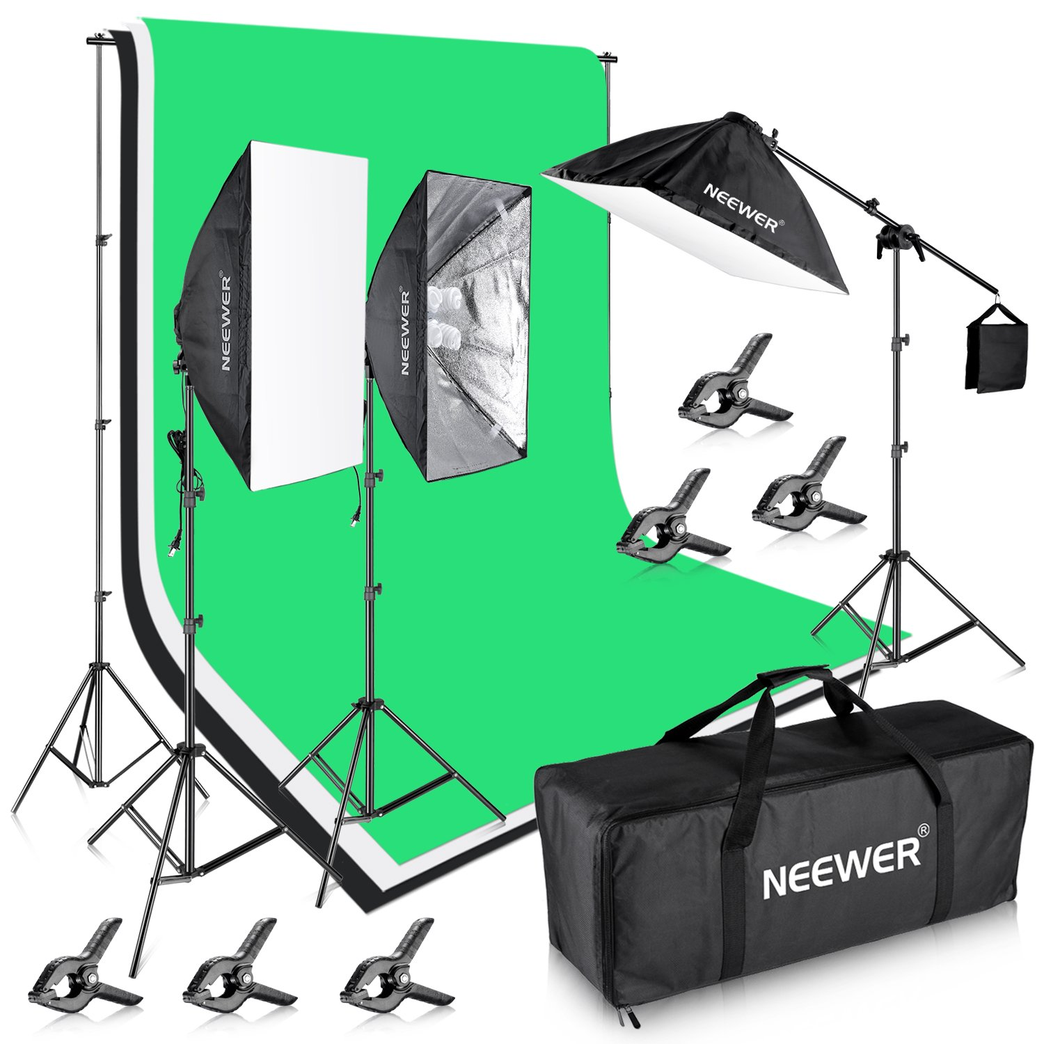 Neewer 8.5x10ft/2.6x3M Background Support System with Three 6x 9ft/1.8x2.8M Backdrop 2400W 5500K Lighting Kit for Photography Video Studio Shooting