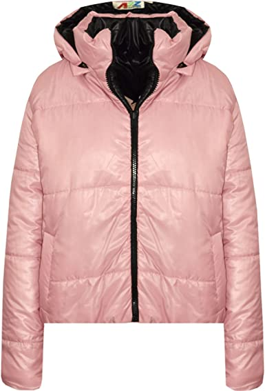 Girls Jackets Kids Reversible Back To School Hooded Padded Quilted Jacket Coats