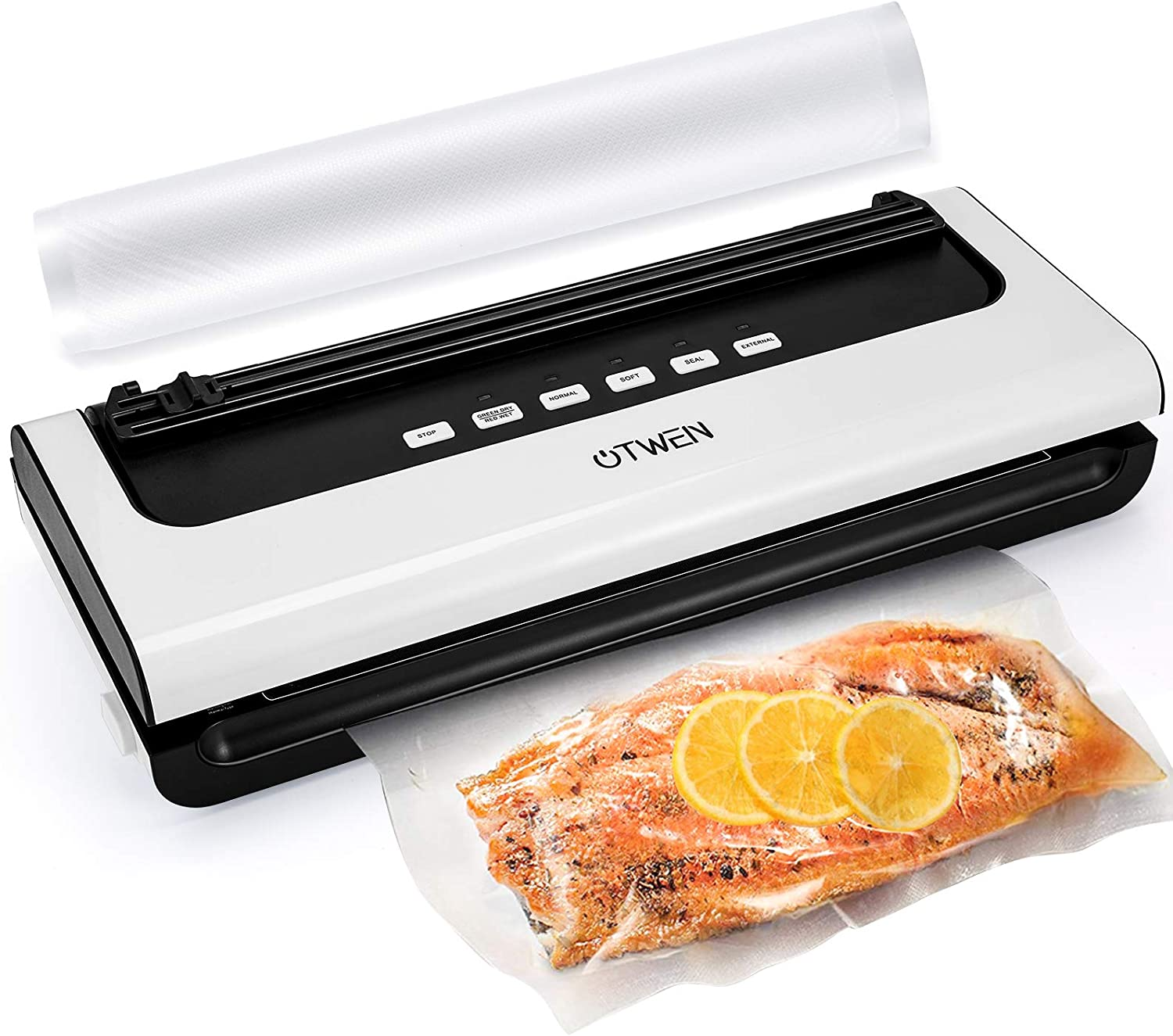 Vacuum Sealer Machine, OTWEN Automatic Food Sealer with 4 Food Modes, Vacuum Sealing Machine with Built-in Cutter, Vacuum Bags Roll, Dry & Moist and Soft & Normal Modes, Compact Design Easy to Clean