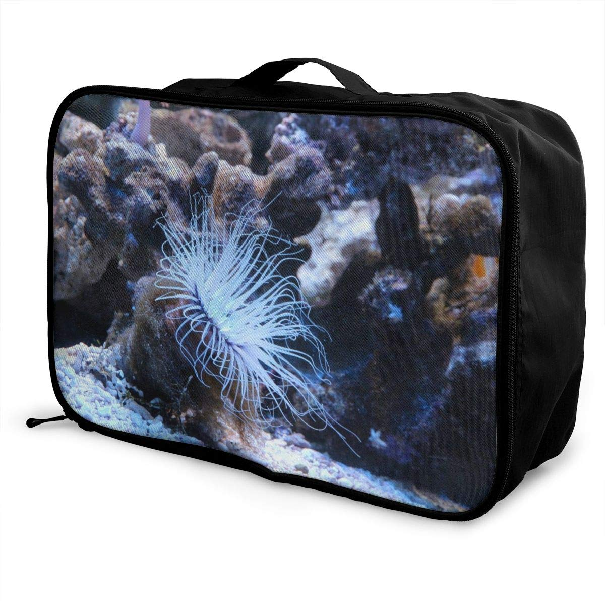 Anemone Coral Reef Travel Lightweight Waterproof Foldable Storage Carry Luggage Large Capacity Portable Luggage Bag Duffel Bag