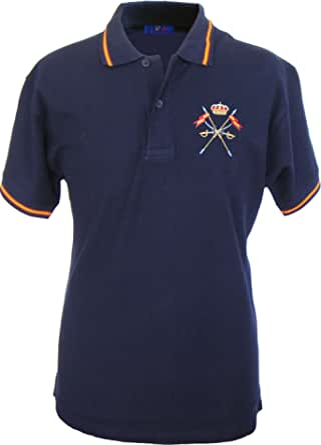 Pi2010 – Polo Caballería Española para Hombre, Color Marino, Bandera España en Cuello y Mangas, 100% algodón