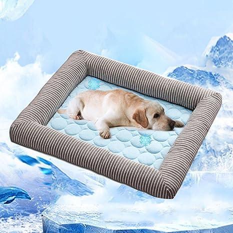 Aolvo Almohadilla de refrigeración/colcha/cama para perros y gatos, cama extra grande, borde como almohada, ...