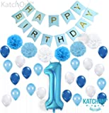 KatchOn 1ST Birthday Boy Decorations Blue - Large, Pack of 30 | Baby Boy First Birthday Decorations | Number 1 Blue Balloon, Pompoms and Latex Balloon Pack| Happy Birthday Banner Décor Supplies