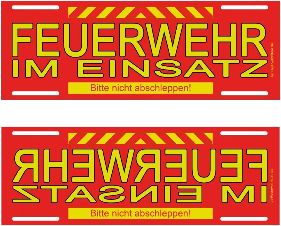 Feuerwehr Im Einsatz Wendeschild Wsb Schild Für Die Sonnenblende In Normal Spiegelschrift Alternative Zu Dachaufsetzer Und Dachschild Auto