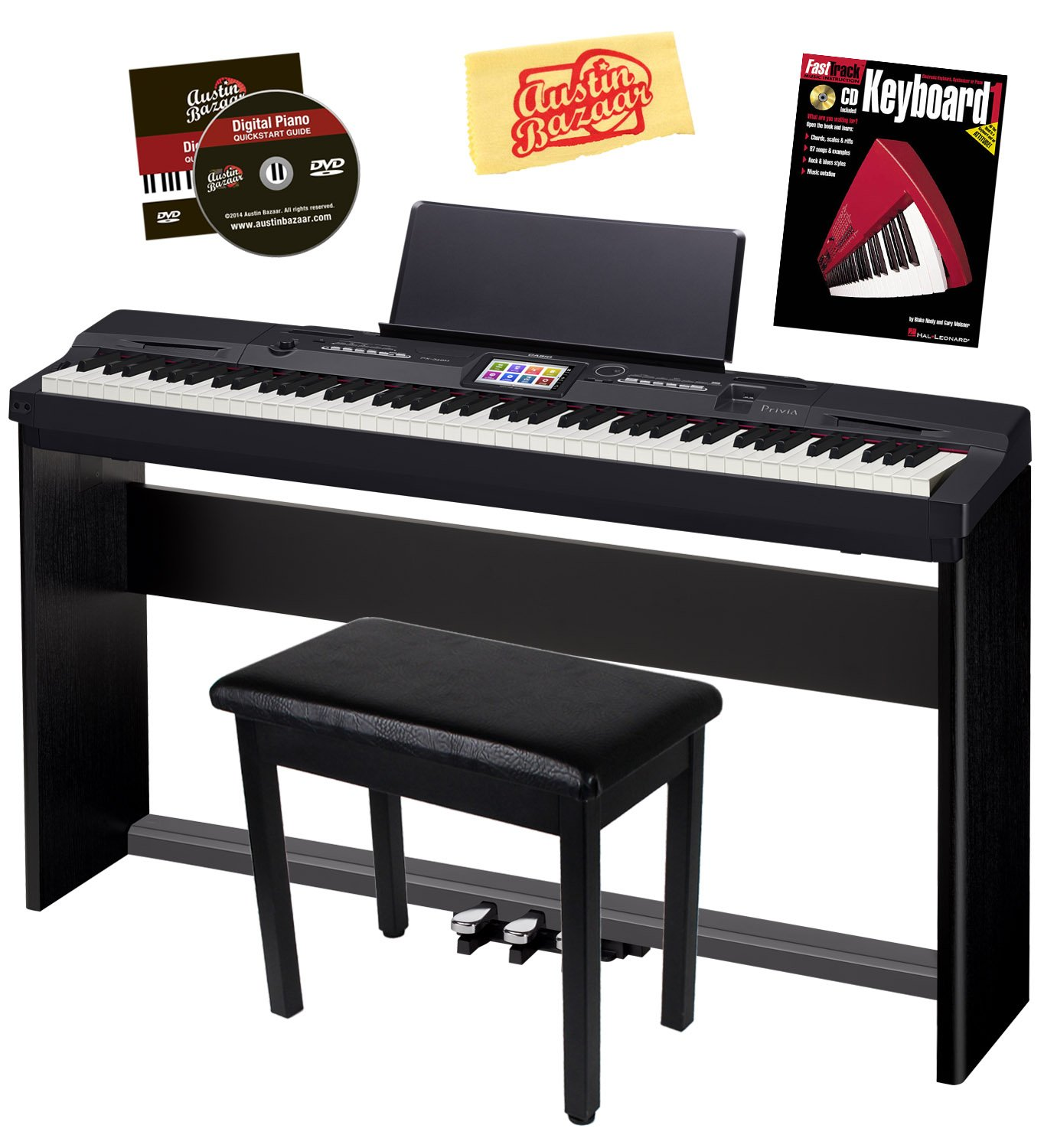 Casio Privia PX-360 Digital Piano - Black Bundle with CS-67 Stand, SP-33 Pedal, Furniture Bench, Instructional Book, Austin Bazaar Instructional DVD, and Polishing Cloth