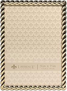 Lawrence Frames Rope Design Metal Frame, 5x7, Gold
