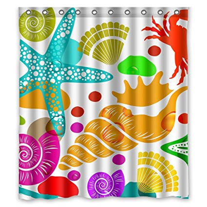 Amazon Sealife Starfish Crab Shower Curtain With Hooks Home