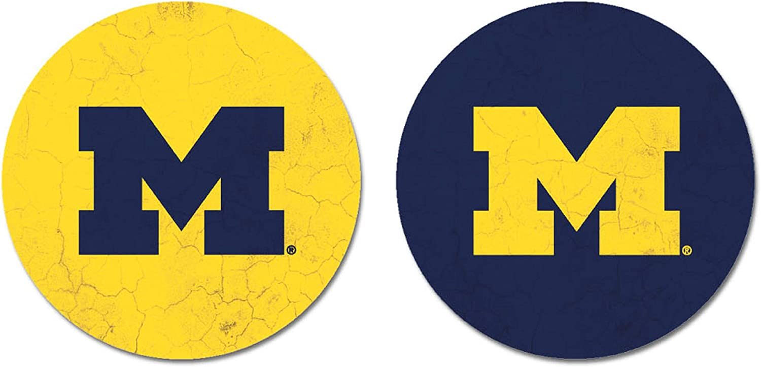 NCAA Legacy Michigan Wolverines Thirsty Car Coaster 2-Pack One Size Sandstone