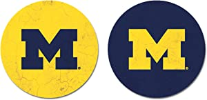 NCAA Legacy Michigan Wolverines Thirsty Car Coaster 2-Pack, One Size, Sandstone