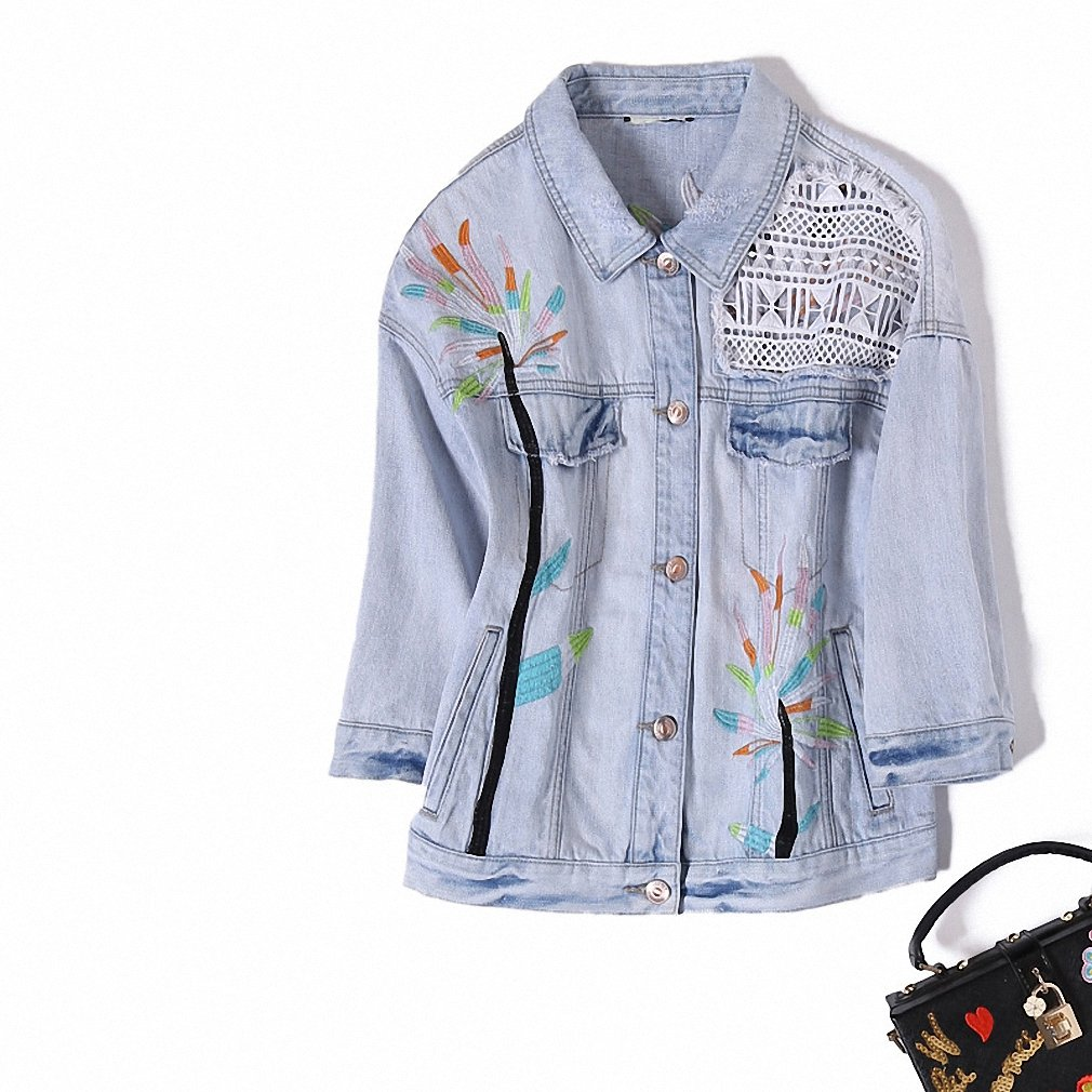 NEW Europe Brand Ladies Denim Coat Luxury Summer New Women's Fashion Personality Color Printing All-match Washed Jeans Jacket Blue M