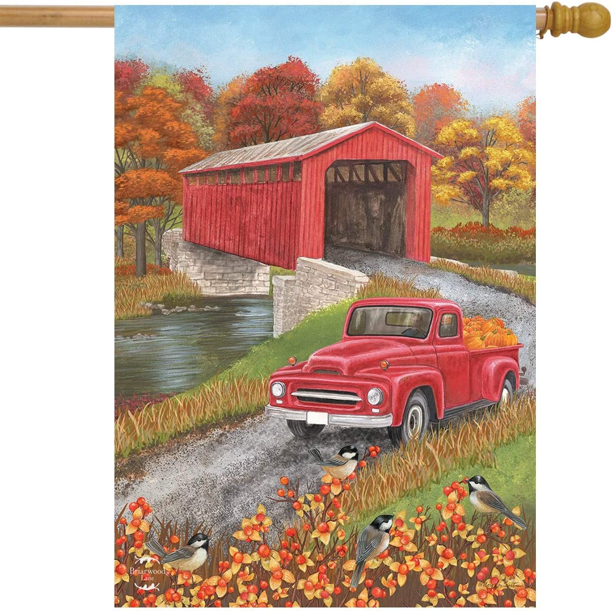 "Autumn Bridge House Flag Fall Pickup Truck Covered Bridge 28"" x 40"""