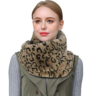 Homelex Faux Fur Neck Winter Warmer Leopard Print Infinity Sciarpa per le  donne (marrone) fa6ab71bafd