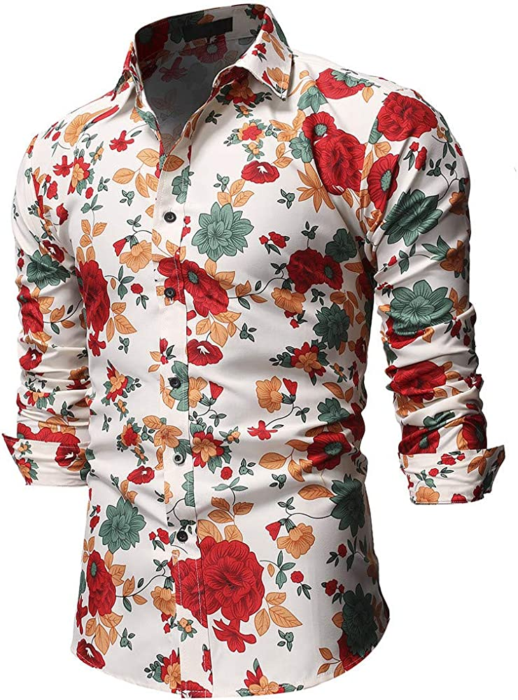 YEBIRAL Polos Manga Larga Hombre, Impresión de Floral Printed Fantasy con Botones Blusa Camisas de Vestir Hawaii Shirt Camisa Hawaiana para Hombre(2XL, Beige): Amazon.es: Ropa y accesorios
