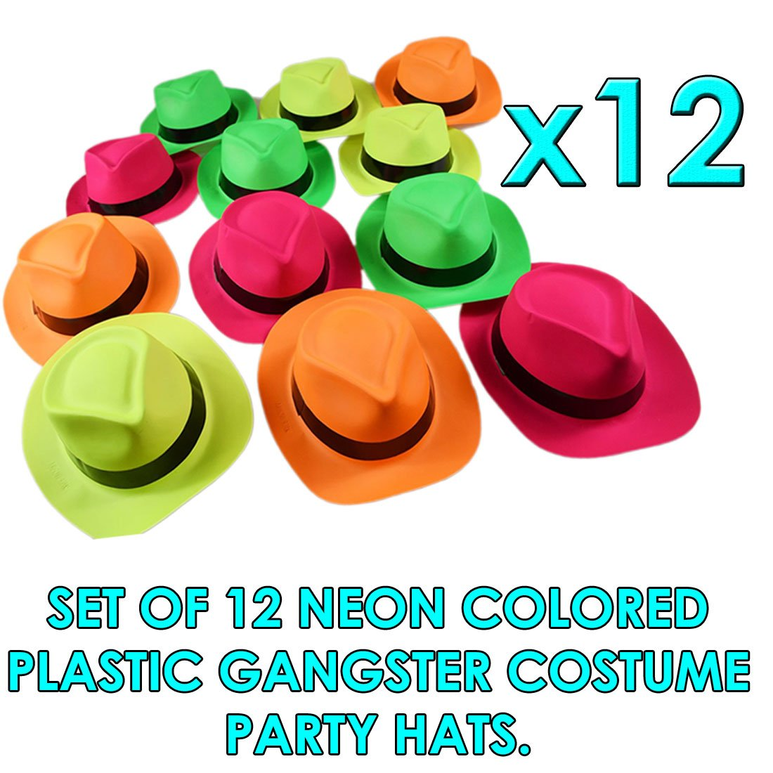 Amazon.com  dazzling toys Neon Plastic Gangster Hats - 12 Pack - Dress Up  Toy 2ca10e780e13