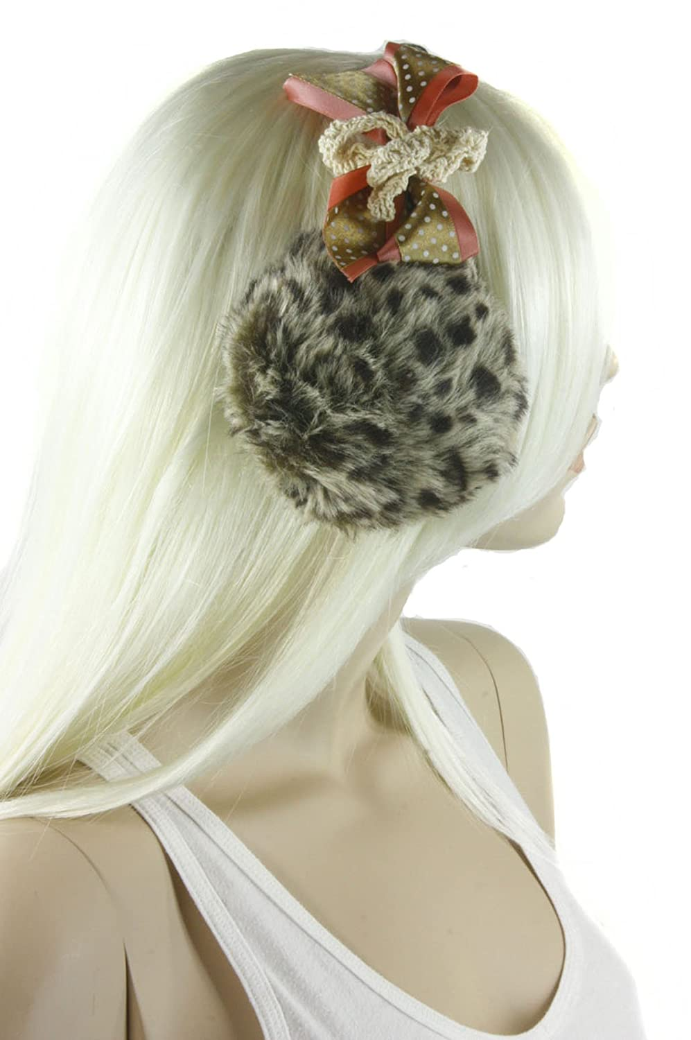 Strawberry bow leopard print winter ski fuzzy Headbandear muffs