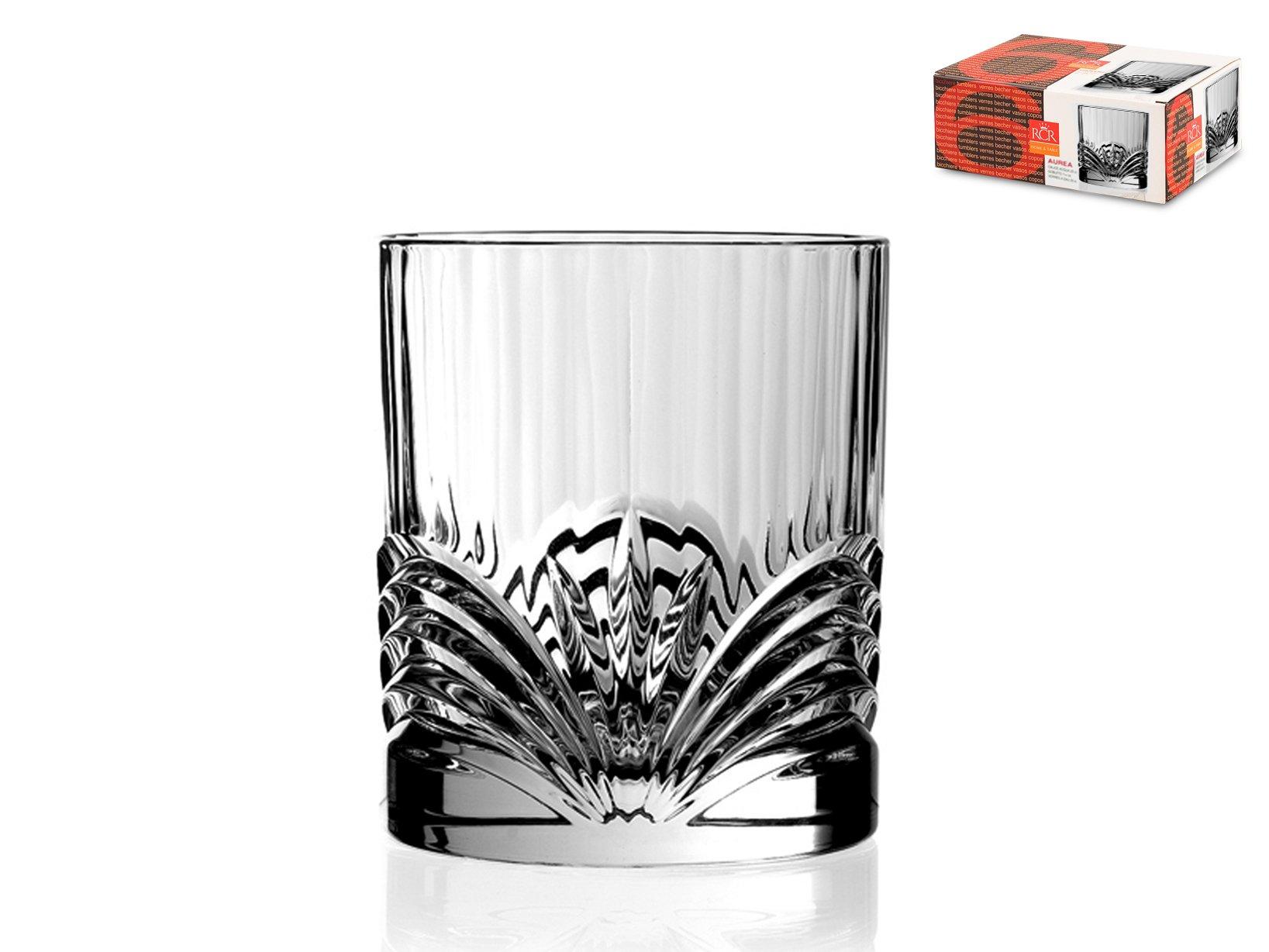 Rcr Aurea Water Glasses, Glass, Transparent, Set 6 Pieces, 28 cl
