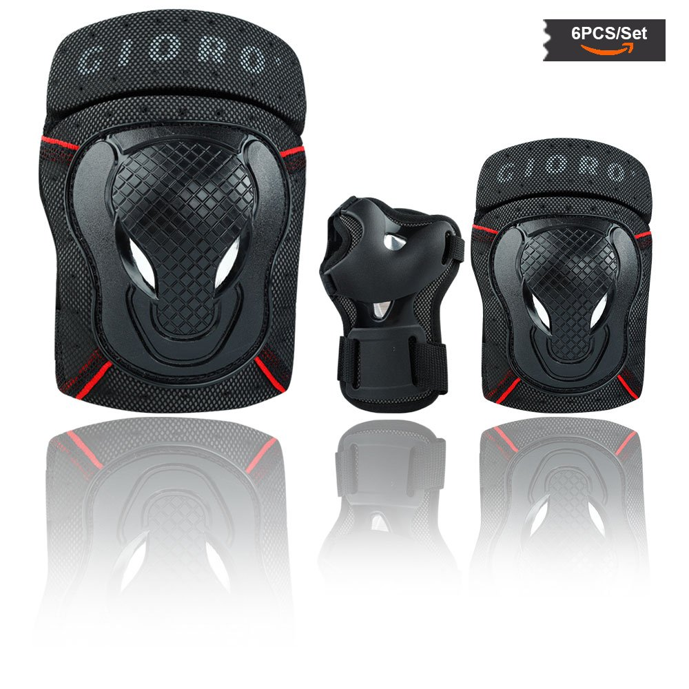 GIORO Youth/adult Knee Pads and Elbow Pads Set with Wrist Guard Safety Protective Gear Set for Multi Sports Protection Skateboarding,Ice Skating,BMX bike,Inline Roller Skating,longboarding(black, M)