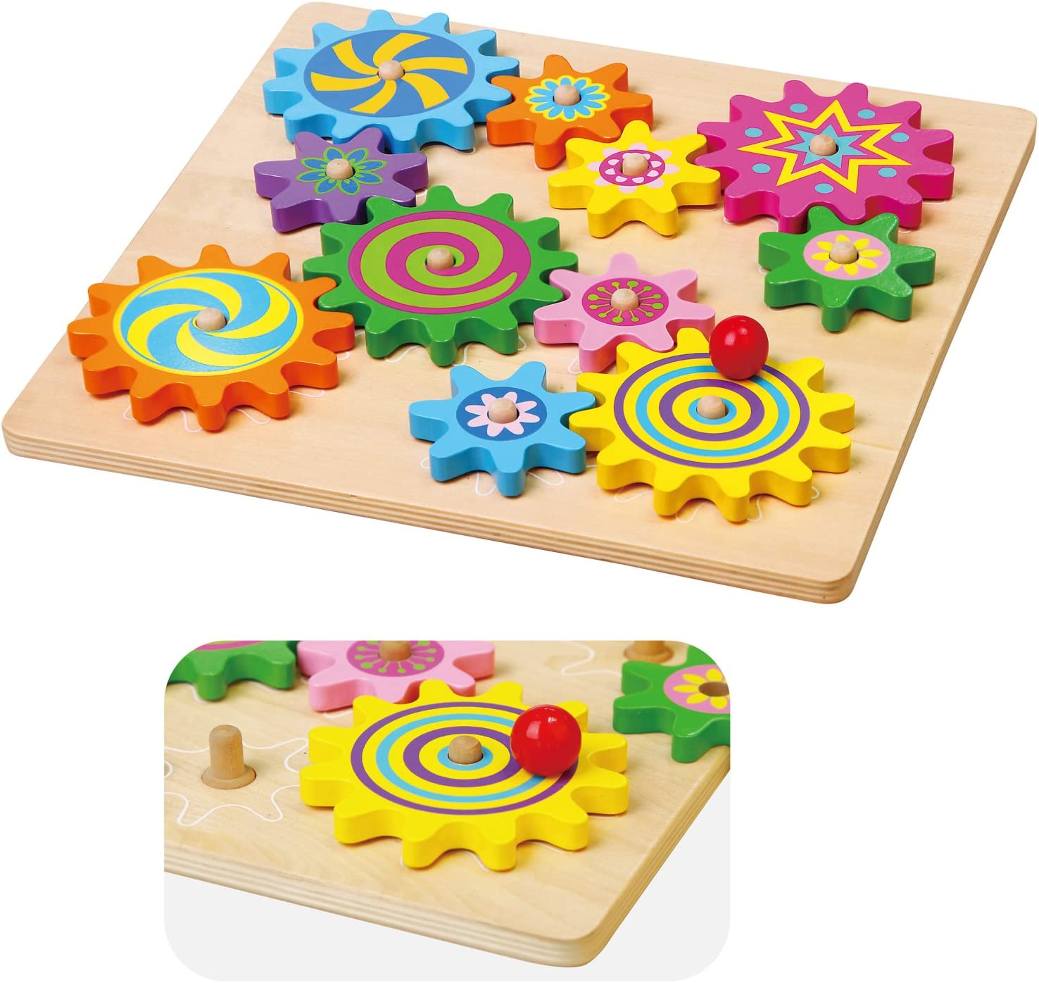VIGA Wooden Spinning Gears & Cogs Childrens Toddler Activity Play Toy