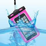 YURI スマホ防水ケース 水深30M防水 PVC材質 タッチ可能 5.5インチ以下対応 (ピンク)