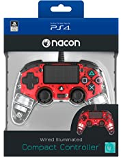 Nacon Compact Controller Luminosi, Rosso - Classics - PlayStation 4