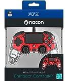 Nacon Compact Controller Luminosi, Rosso - Classics - PlayStation 4