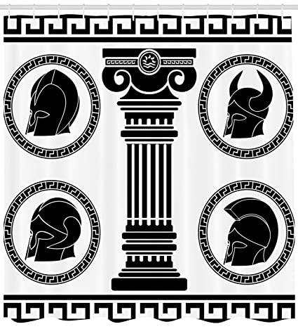 7695c3e920ba Amazon.com: Ambesonne Toga Party Shower Curtain, Patterned Circular ...