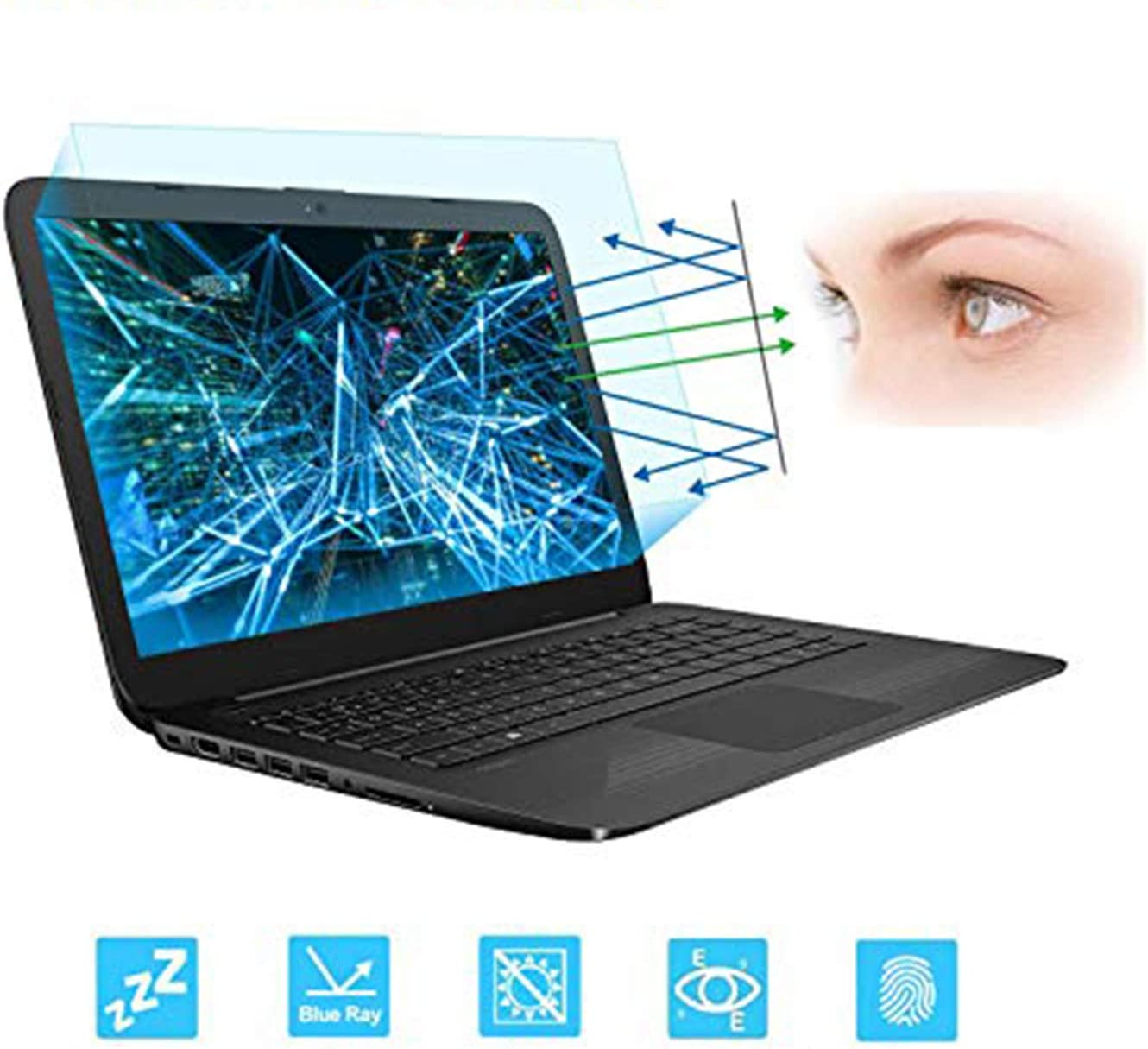 "FORITO 14 Inch Screen Protector -Blue Light and Anti Glare Filter, Eye Protection Blue Light Blocking & Anti Glare Screen Protector for 14"" with 16:9 Aspect Ratio Laptop"