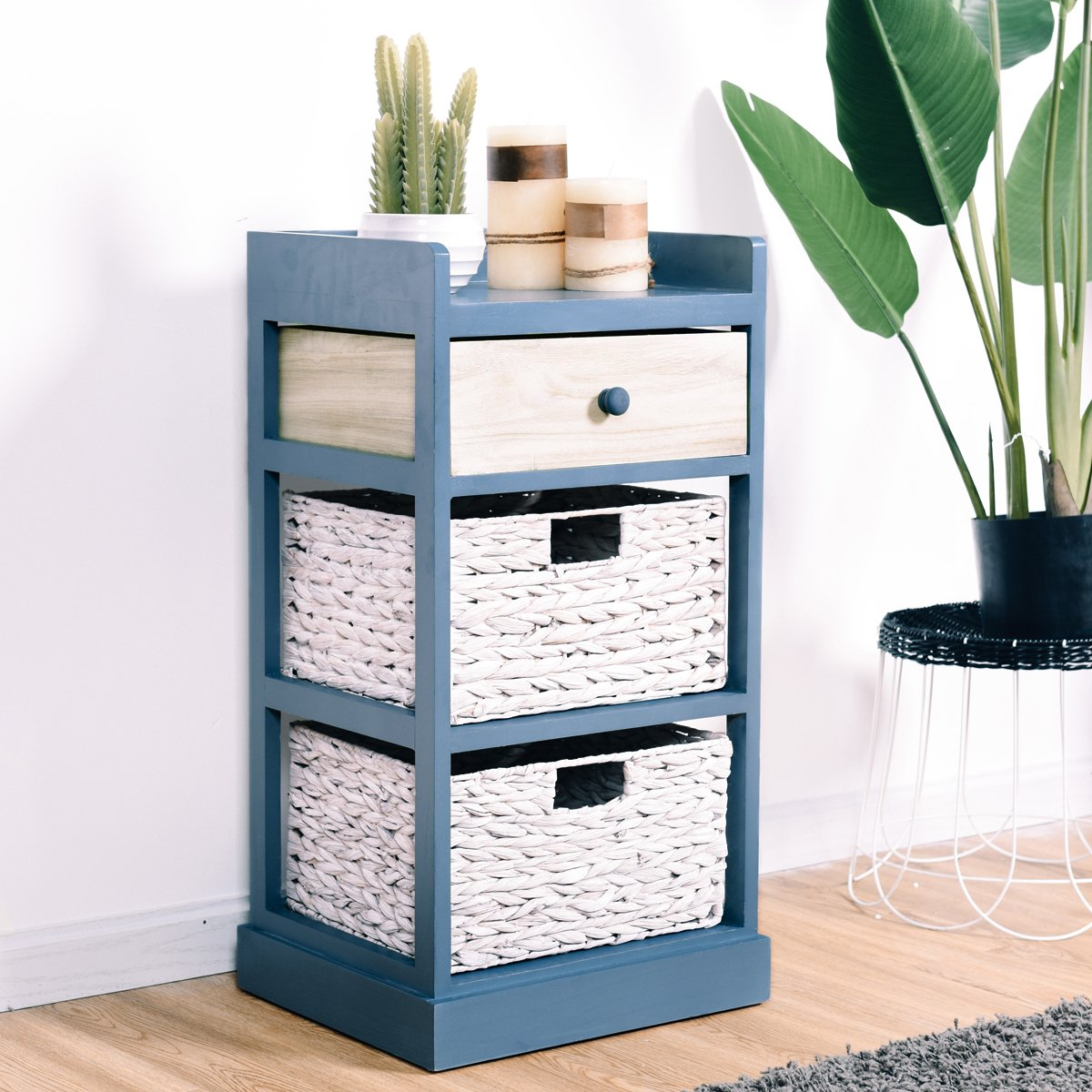 Giantex End Table w/Drawers and Baskets Beside Table Nightstand Wood Drawer Cabinet Home Office Collection Solid Wood Accent Storage Organizer (1 Drawer & 2 Baskets)