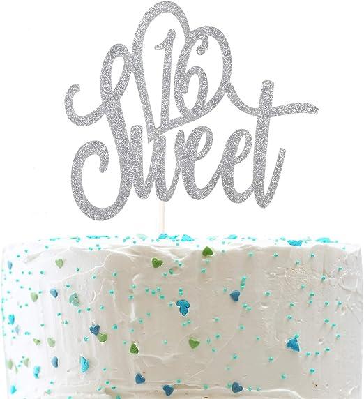 Amazon.com: Adorno para tarta de 16 cumpleaños (doble cara ...