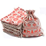 """TEXPLUS 20Pcs Assorted Color Christmas Party Favor Gift Bags with Drawstring (Christmas Burlap Bags, 5""""Wx7""""L)"""