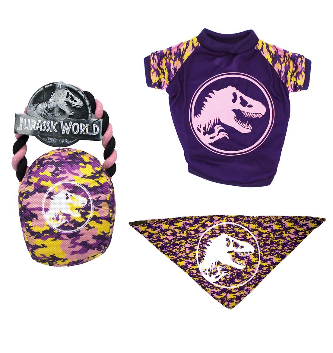 Jurassic World Logo Bandana, Rope Pull Toy, and Logo T-Shirt in Size Small | Tee, Toy, and Bandana Set For Small Dogs, Small