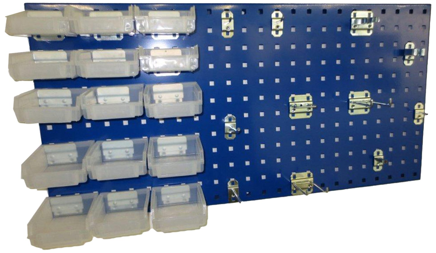 Triton Products LB18-1BHBTR-Kit 18 In W x 36 In H Epoxy Steel Square Hole Pegboard Kit with Mounting Hardware, Blue, 43-Pack