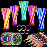 TURNMEON 500 Glow Sticks Bulk Party Favors,Glow In the Dark Party Supplies July 4Th Glow Stick Necklaces Bracelets with Conne