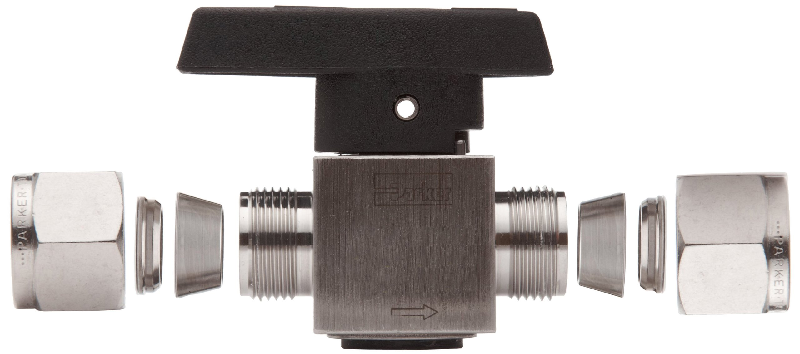 Parker 316 Stainless Steel Rotary Process Plug Valve with Fluorocarbon Rubber Seal and PTFE Back-Up Ring, 1/4'' A-LOK Compression Inlet/Outlet Port, 3000 psi by Parker (Image #4)