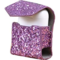 Leather Cover with Anti-lost Keychain Glitter Sparkle Leather Sleeve Skins Case for Apple AirPods Wireless Earphone (3D…