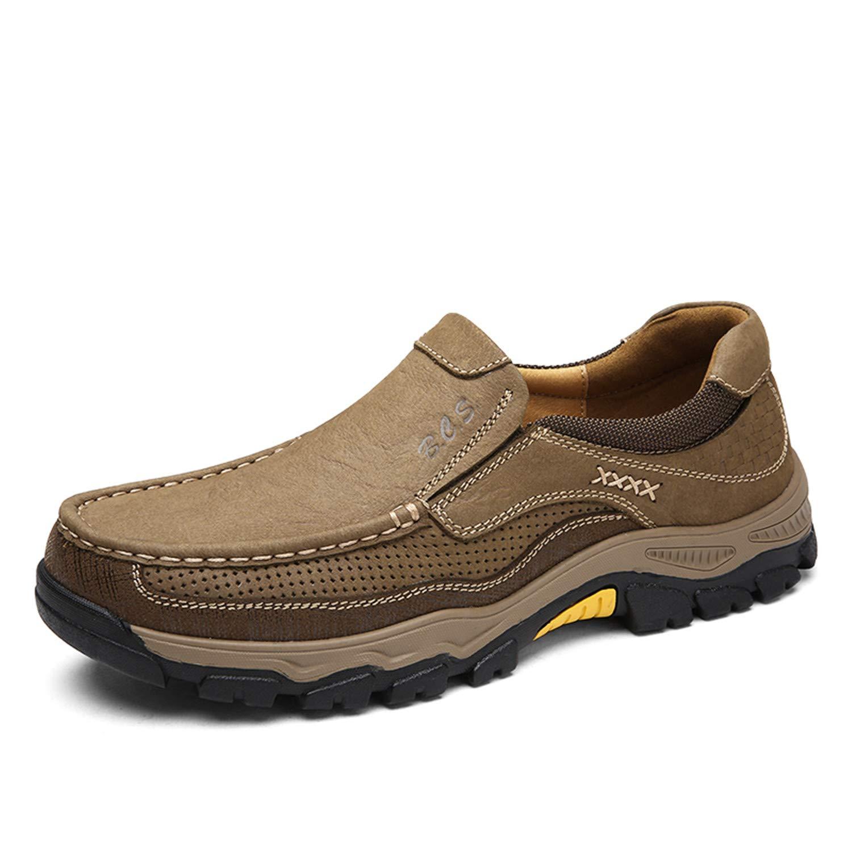 Tqgold Herren Leder Loafer Schuhe Flache Mokassins Freizeitschuhe Outdoor Trekking Wanderschuhe