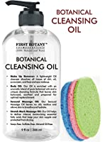 Deep Cleansing Oil - 100% Pure & Natural, 9 fl oz with Sponges - Botanical Facial Cleanser, Eye Makeup Remover, Stretch Mark oil & Massage Oil