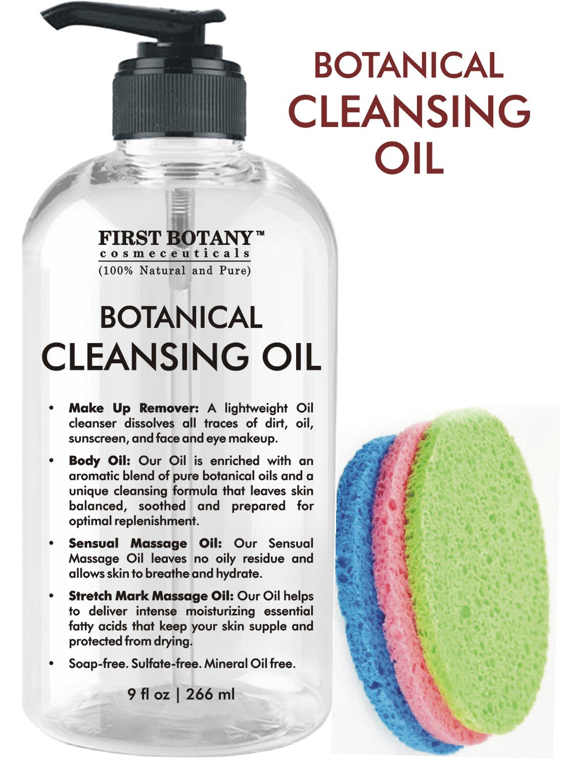 Deep Cleansing Oil - 100% Pure & Natural, 9 fl oz with Sponges - Botanical Facial Cleanser, Eye Makeup Remover, Stretch Mark oil & Massage Oil Private Label Cosmetics Coorp