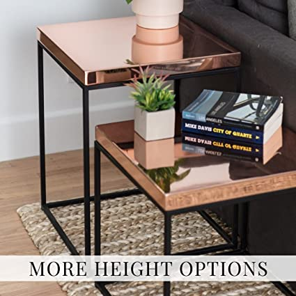 Amazon Com Polished Copper Top Steel Frame Cube Side Table End